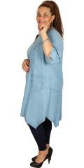 Q´neel - Qneel tencel denim klänning med 3/4 ärmar och asymmetrisk längdor