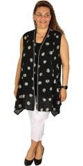 Q´neel - Phantastisch hübsch und kleidsam Lein Weste/Tunika mit Taschen und doppelt Reissverschluss