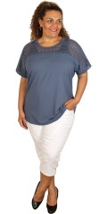 CISO - T-shirt with lace stay and short wing sleeve