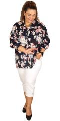 Adia - Blomstret oversize skjorte med lange ermer