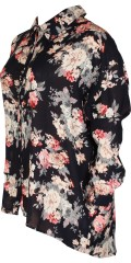 Adia - Flowery oversize shirt with long sleeves