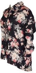 Adia - Blomstret oversize skjorte med lange ærmer