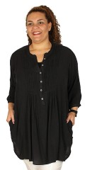 Adia - Tunika skjorte bluse med 3/4 ærmer i let crepe og med læg foran og bagpå
