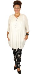 Adia - Tunica shirt blouse with 3/4 sleeves in light crepe and with pleat front and in the back