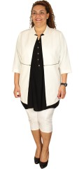 Adia - Open jacket/cardigan with 3/4 sleeves and smart zipper centrally front