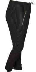 Cassiopeia - Stripede cigaret pinella bukse/leggings med strikk i hele taljen og 2 glidelås lommer