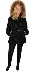One More - Luxury quilt jacket with detachable fur cap and in smart pattern