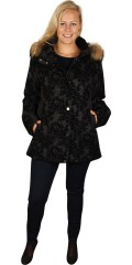 One More (Handberg) - Luxury quilt jacket with detachable fur cap and in smart pattern