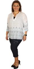 Zhenzi - Skjorte med v-hals og 3/4 ermer som kan drapert