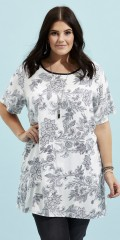 Zhenzi - Short sleeved tunica with tie with buttons in the neck