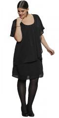 Zhenzi - Kjole med fast syet underkjole og super smart lag på lag