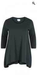 Zizzi - T-shirt med 3/4 ærmer og dråber i siderne samt rund hals