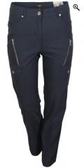 Zhenzi - Blue salsa bengalin pants with stretch, 5 pockets and belt straps