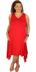 Gozzip - Tunika Kleid ohne Ärmeln und mit Smock in der Rücken