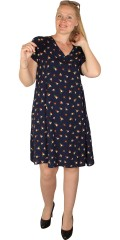 Studio - Lett kjole med v-hals, korte ermer og trykk