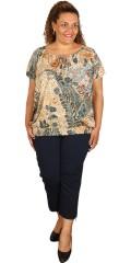 Studio - T-shirt bluse med korte vinge ærmer og afsluttes med elastik forneden