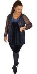 Zhenzi - Velour nederdel med elastik i taljen