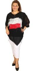 Q´neel - Q-neel oversize poncho top med rund hals og i super flot print samt med blank kant
