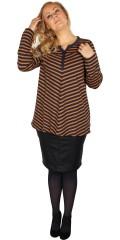 Zhenzi - Stribet bluse med stolpe lukning