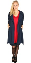 Zhenzi - Smart long cardigan jacket with collar, is closed with tie string