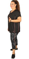 Zhenzi - T-shirt fitness in super strechy material with round neck and short sleeves