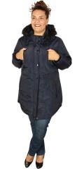 Zhenzi - Stylish long fleece jacket with detachable cap with detachable fur edge