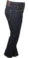 Zhenzi - Step straight leg normal fit long denim pants with stretch and adjustable rubber band in the waist