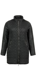 CISO - Quilted fleece jacket with wide collar and double zipper