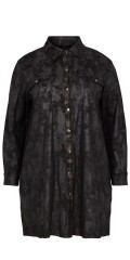 Adia - Long-sleeve shirt in stylish soft embossed fur