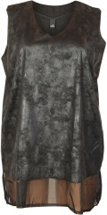 Adia Fashion - Top in fake fur and with long sewn chiffon lining under