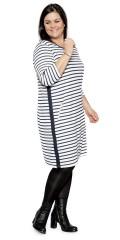 Cassiopeia - Zabia tunika klänning i fina randar och med 2 blixtlås fickor