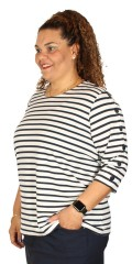 Cassiopeia - Zabia blouse in fine stripes and with decorate buttons in both sleeves