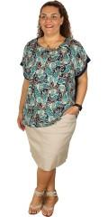 Studio - T-shirt bluse med forstykke i fast stof