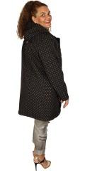 Zhenzi - Bløt shell jakke, svart med prikker
