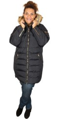 Cassiopeia - Trine long fleece jacket with double guldfarvet zipper, detachable cap with fur collar
