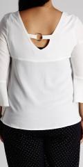 Zoey - Smart genser med trompet ermer v-hals foran og bak