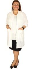 Zoey - Richtig smart Hemd Jacke mit lange Ärmeln und Stricken in Hals und Ärmeln
