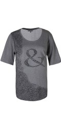 Zhenzi - T-shirt with short sleeves and print on front piece