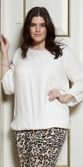 Zhenzi - Blouse with 3/4 sleeves and in placed lace at the neck
