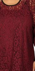 Zhenzi - Tunika Bluse mit 3/4 Ärmeln in phantastisch hübsch Spitze, und mit fest genäht Top unter