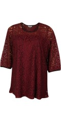 Zhenzi - Tunica blouse with 3/4 sleeves in impressive nice lace, and with hard sewn top under