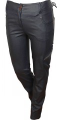 Zhenzi - Blå coated strekk jeans (model stomp legging fit) med variabel strikk i taljen