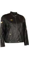 Zoey - Short leather look jacket with many details and zipper pockets