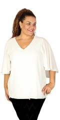 Zoey - Blouse in light crep with hard sewn cape over back and sleeves
