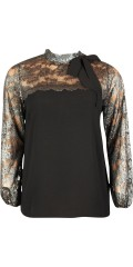 Zoey - Blouse with high neck with grey lace at the top and in the sleeves as ends with a thin rubber band