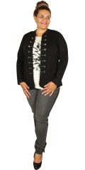 Zoey - Open light form-fitting blazer jacket with smart sailor buttons