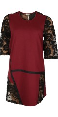 Gozzip - Hübsch Kleid mit Spitzen und Band in A-Form mit 3/4 Ärmeln