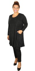 Gozzip - Knit dress/tunica with round neck and long sleeves also 2 lovely big pockets