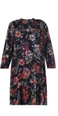 Studio - Printed dress with smock in the neck and 3/4 sleeves