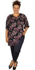 Studio - Marineblå tunika med v-hals i flott plum blomstermønster.